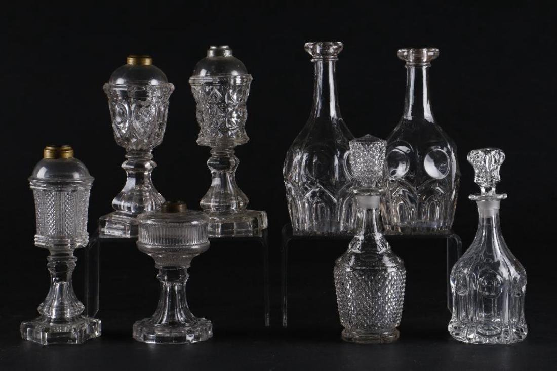 4 AMERICAN PRESS MOLDED GLASS FLUID LAMPS & 4 DECANTERS - 4