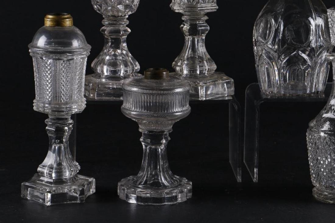4 AMERICAN PRESS MOLDED GLASS FLUID LAMPS & 4 DECANTERS - 6