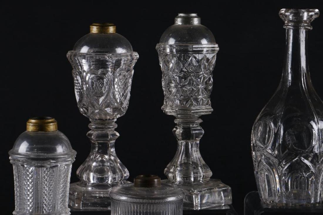 4 AMERICAN PRESS MOLDED GLASS FLUID LAMPS & 4 DECANTERS - 7