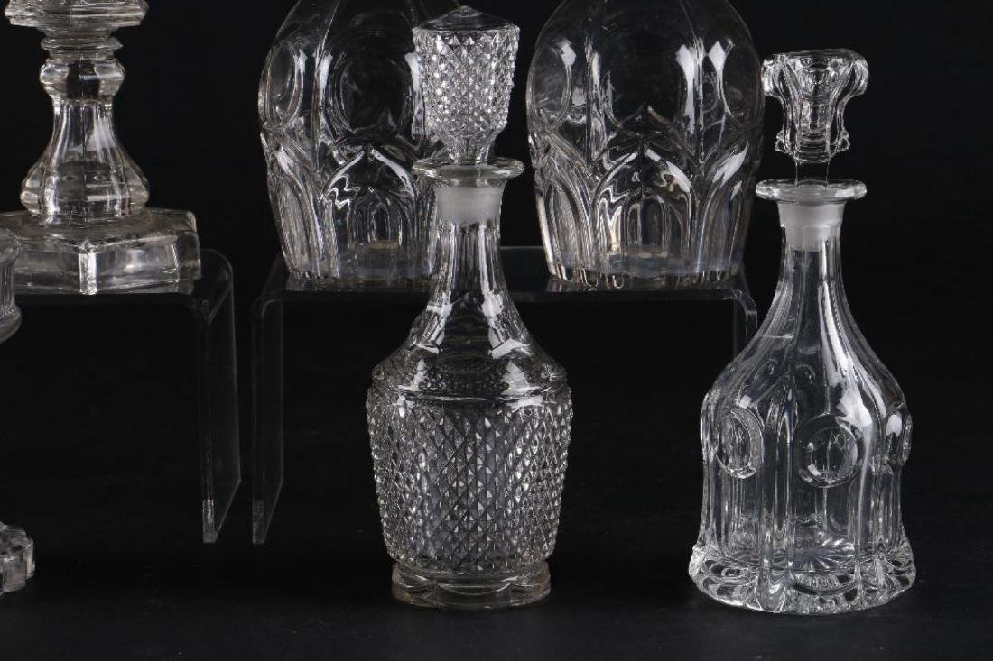 4 AMERICAN PRESS MOLDED GLASS FLUID LAMPS & 4 DECANTERS - 8