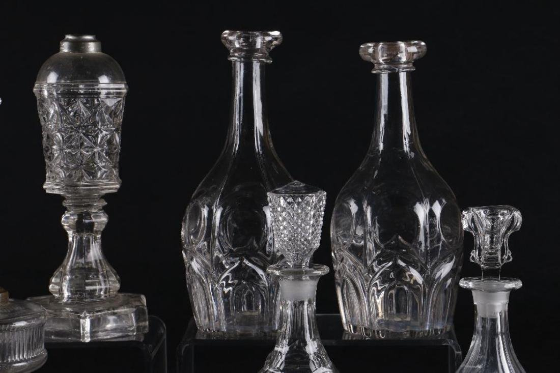 4 AMERICAN PRESS MOLDED GLASS FLUID LAMPS & 4 DECANTERS - 9