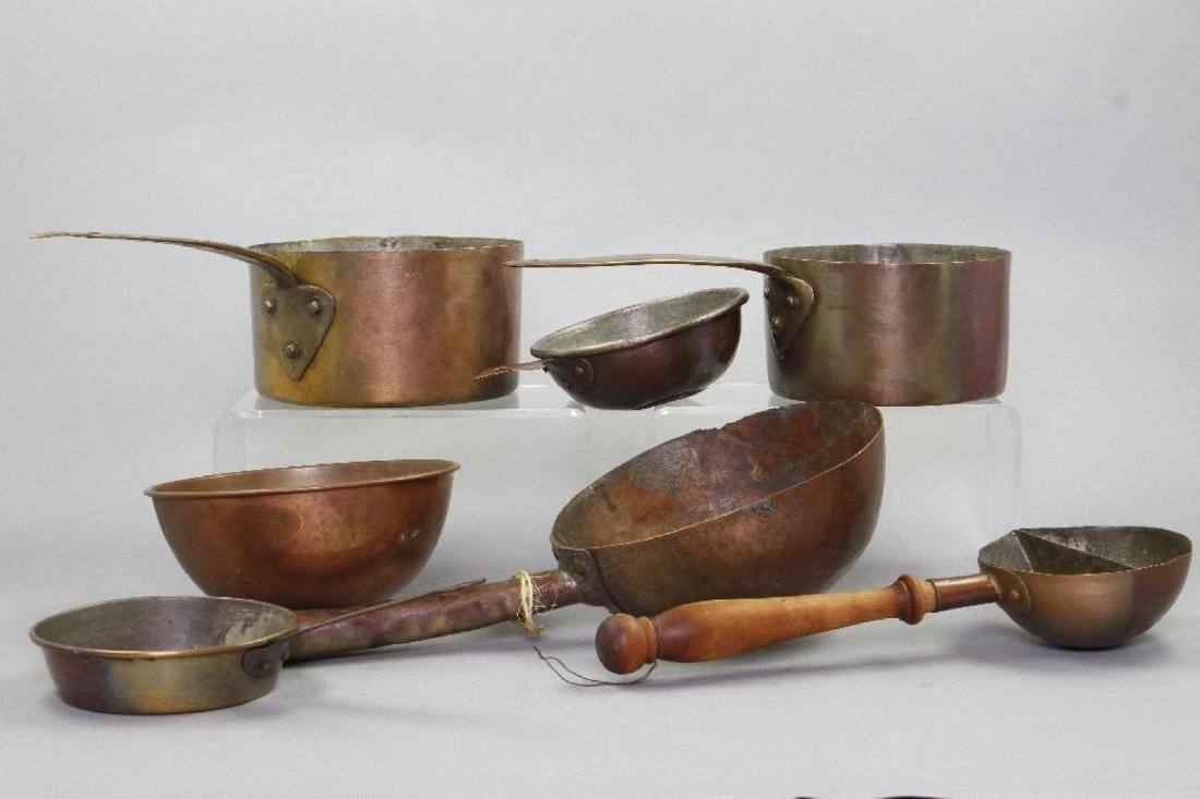 7 PIECES OF COPPER COOKWARE - 2