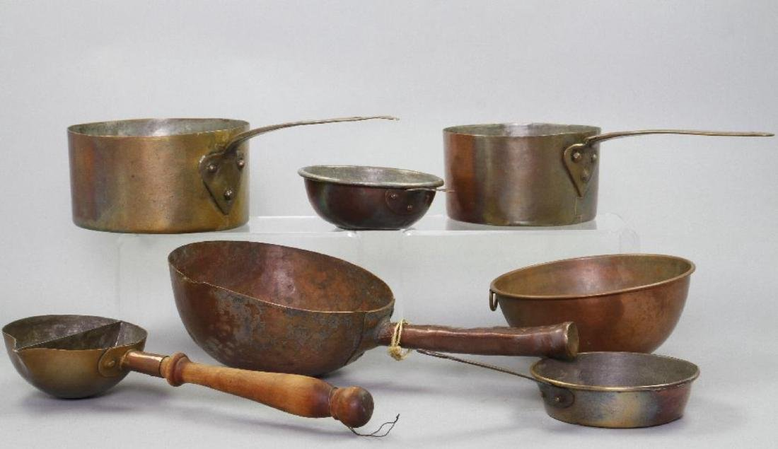 7 PIECES OF COPPER COOKWARE - 3