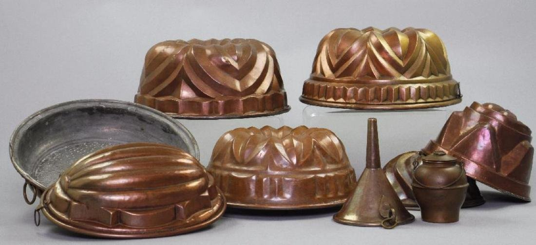 6 COPPER JELLY MOLDS & 3 OTHER PIECES OF COPPERWARE