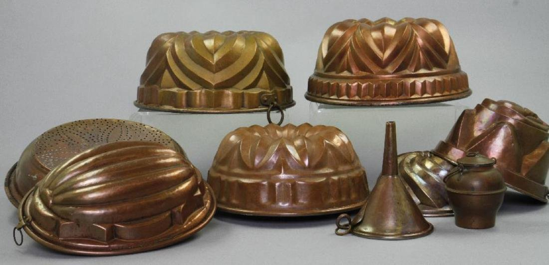 6 COPPER JELLY MOLDS & 3 OTHER PIECES OF COPPERWARE - 2