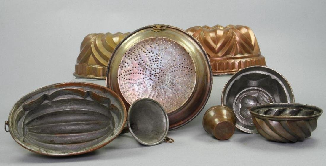 6 COPPER JELLY MOLDS & 3 OTHER PIECES OF COPPERWARE - 3
