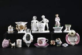 15 PIECES OF GERMAN NOVELTY GLAZED OR BISQUE PORCELAIN