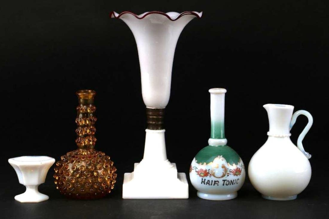 5 PIECES AMERICAN OR EUROPEAN COLORED GLASS