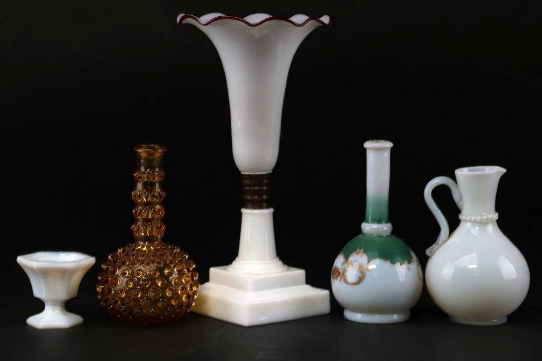 5 PIECES AMERICAN OR EUROPEAN COLORED GLASS - 2