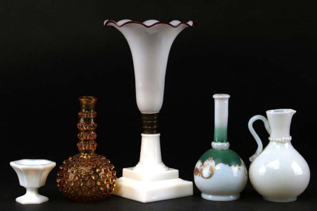 5 PIECES AMERICAN OR EUROPEAN COLORED GLASS - 3