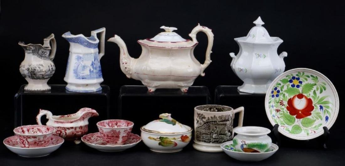 14 PIECES ENGLISH CERAMIC TABLEWARE PRINTED OR PAINTED