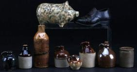 10 PIECES OF BROWN STONEWARE OR OTHER POTTERY