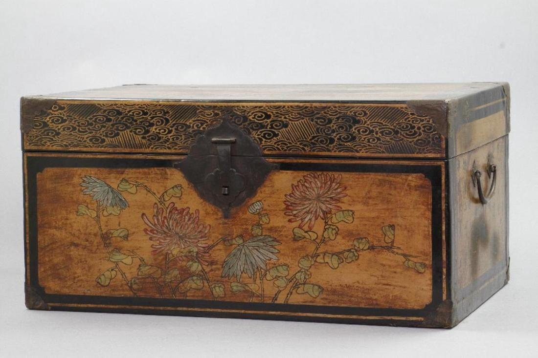 CHINESE PAINTED & LACQUER DECORATED CASKET