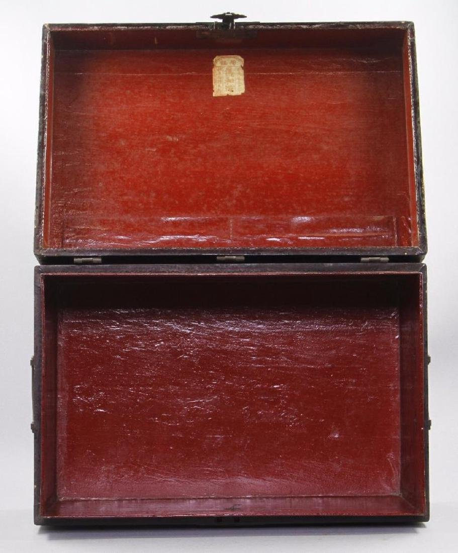 CHINESE PAINTED & LACQUER DECORATED CASKET - 2