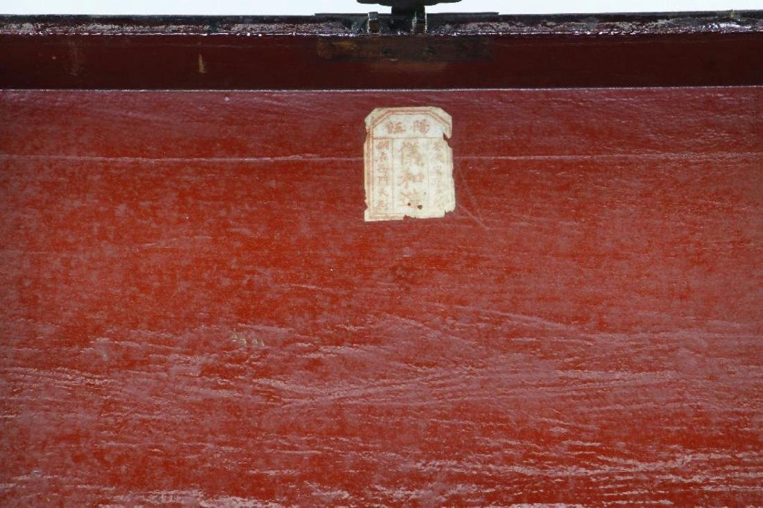 CHINESE PAINTED & LACQUER DECORATED CASKET - 3
