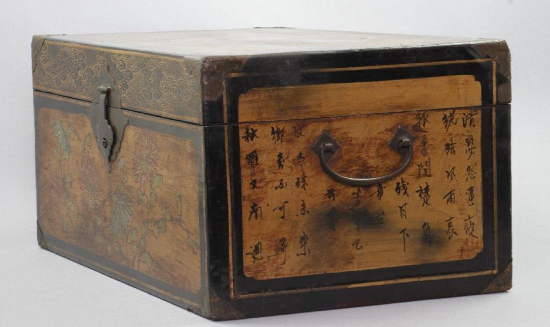 CHINESE PAINTED & LACQUER DECORATED CASKET - 4