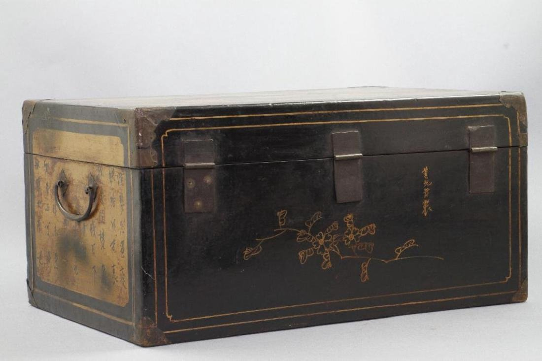 CHINESE PAINTED & LACQUER DECORATED CASKET - 5