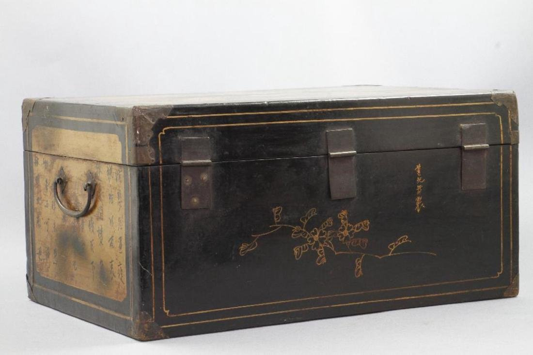 CHINESE PAINTED & LACQUER DECORATED CASKET - 6