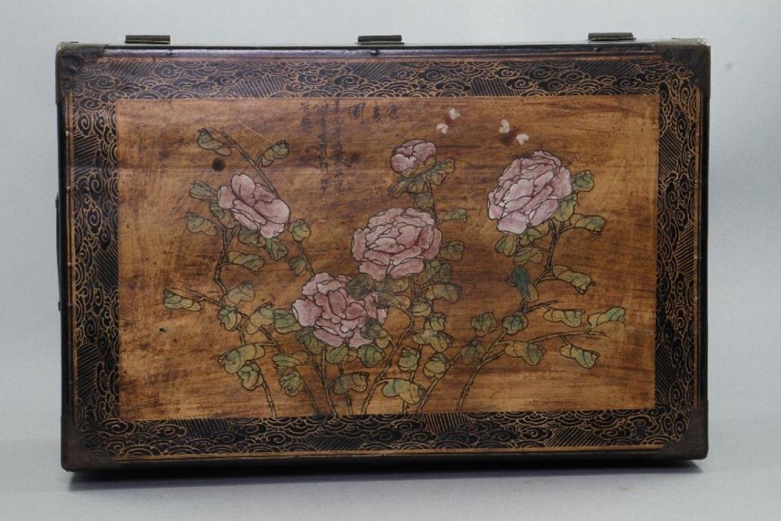CHINESE PAINTED & LACQUER DECORATED CASKET - 8