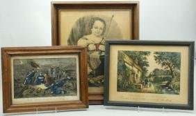 3 CURRIER & IVES HAND COLORED LITHOGRAPHS