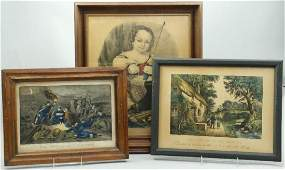 3 CURRIER  IVES HAND COLORED LITHOGRAPHS