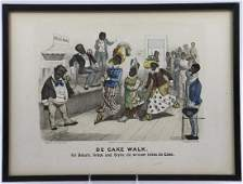 CURRIER  IVES HAND COLORED LITHOGRAPH DE CAKE WALK