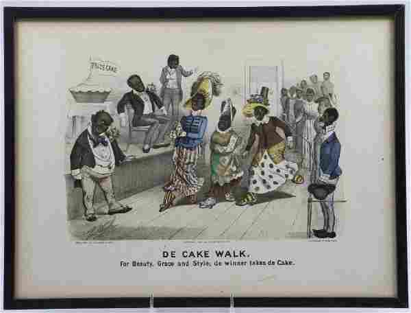 CURRIER & IVES HAND COLORED LITHOGRAPH: DE CAKE WALK