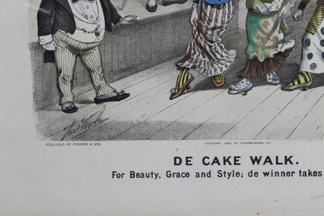 CURRIER & IVES HAND COLORED LITHOGRAPH: DE CAKE WALK - 3