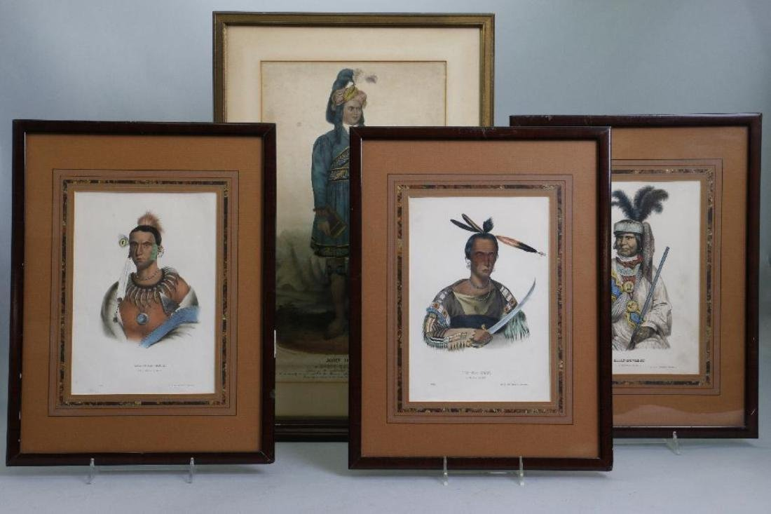 3 RICE RUTTER COLORED PRINTS NATIVE AMERICANS & 1 OTHER
