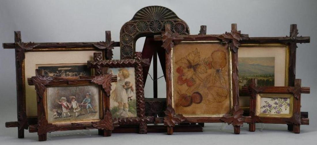 7 VICTORIAN TRAMP ART OR RUSTIC CARVED FRAMES