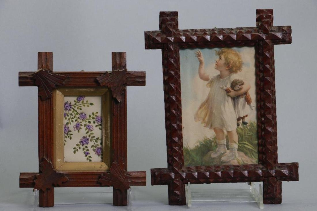 7 VICTORIAN TRAMP ART OR RUSTIC CARVED FRAMES - 7