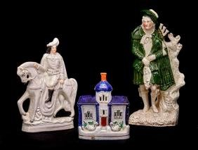 STAFFORDSHIRE BAG PIPER, EQUESTRIAN FIGURE AND HOUSE