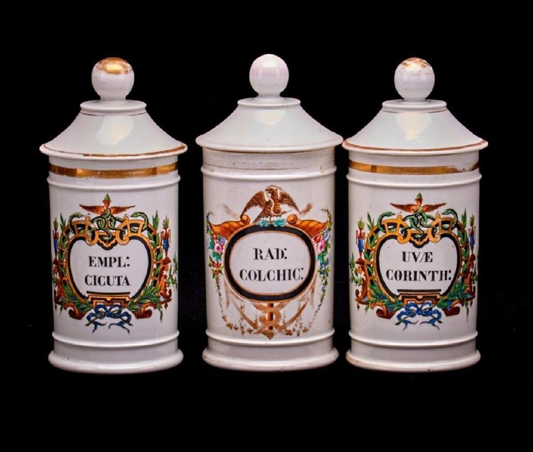 3 FRENCH PORCELAIN APOTHECARY JARS FOR MEXICAN MARKET
