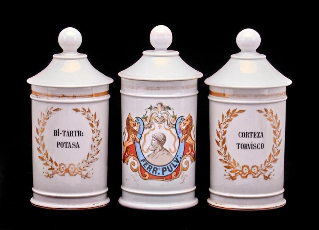3 FRENCH PORCELAIN APOTHECARY JARS