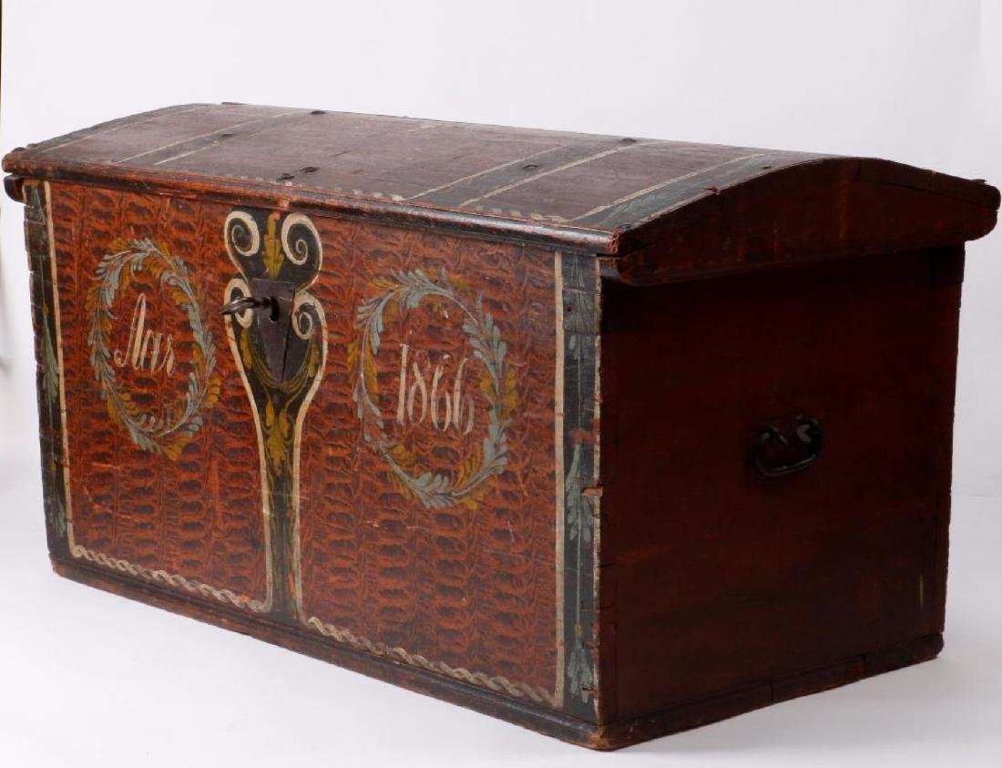 SCANDINAVIAN PAINTED PINE WEDDING TRUNK DATED 1866