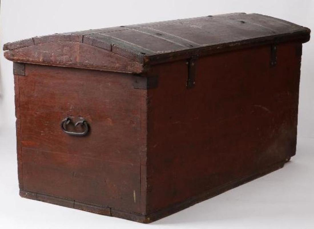 SCANDINAVIAN PAINTED PINE WEDDING TRUNK DATED 1866 - 3