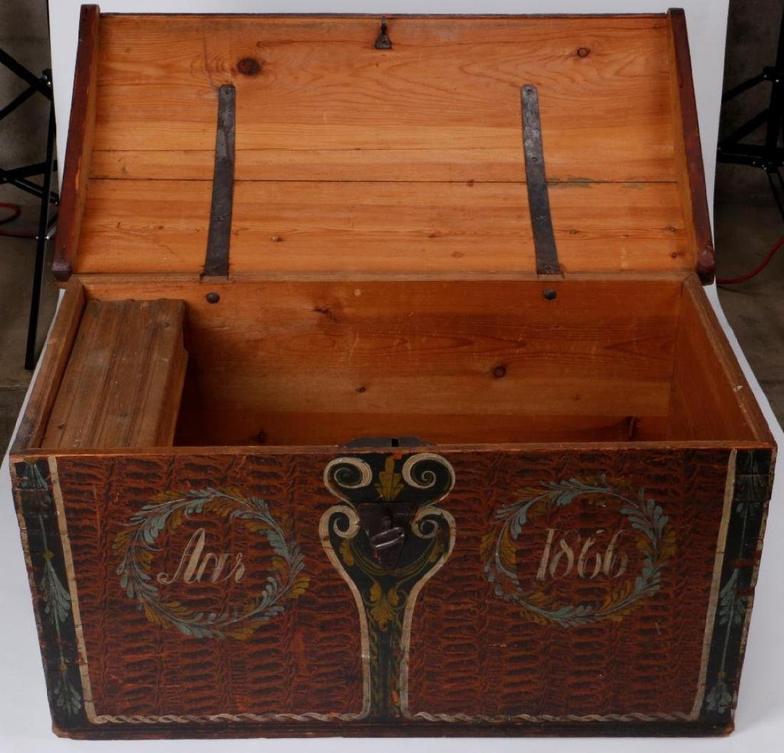 SCANDINAVIAN PAINTED PINE WEDDING TRUNK DATED 1866 - 4