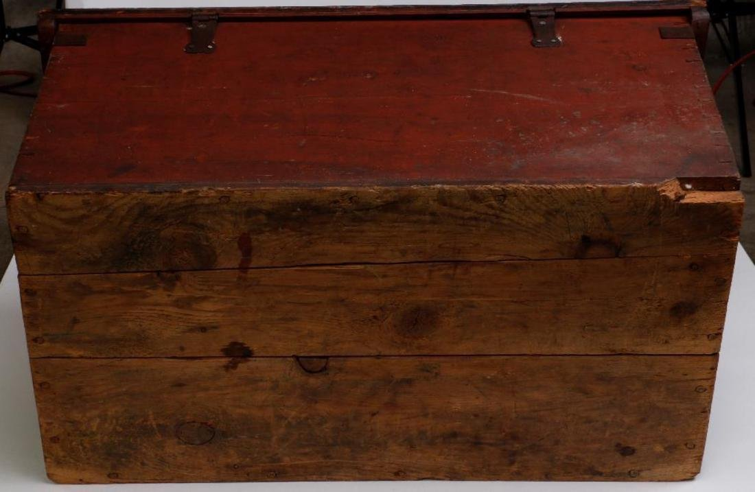 SCANDINAVIAN PAINTED PINE WEDDING TRUNK DATED 1866 - 7