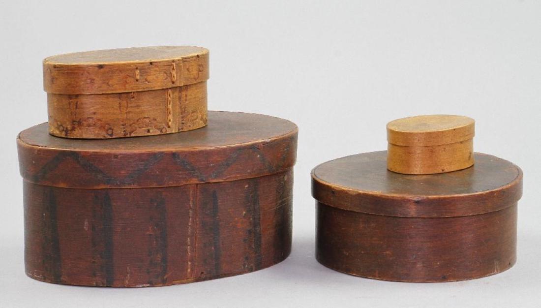 3 OVAL & 1 CIRCULAR BENTWOOD BOXES - 2