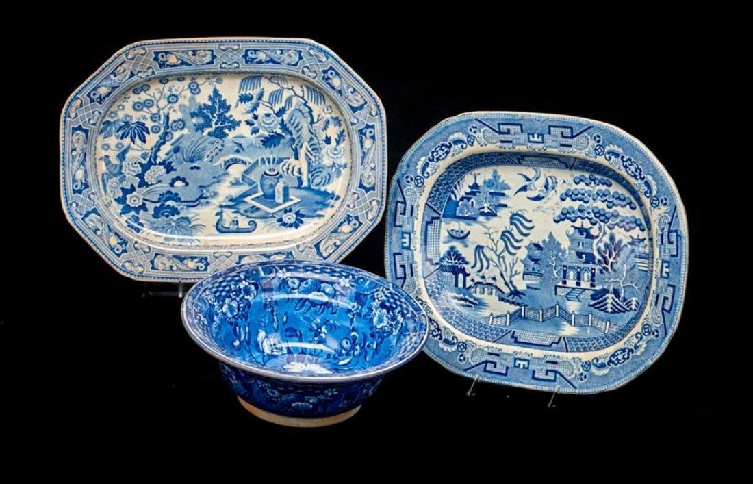 2 STAFFORDSHIRE BLUE & WHITE PLATTERS & A BOWL