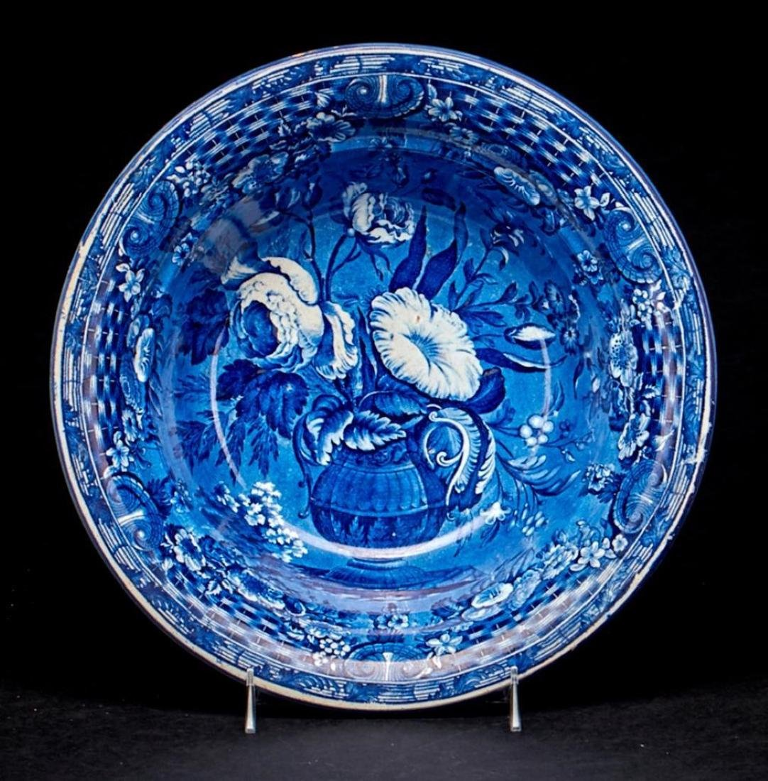 2 STAFFORDSHIRE BLUE & WHITE PLATTERS & A BOWL - 2