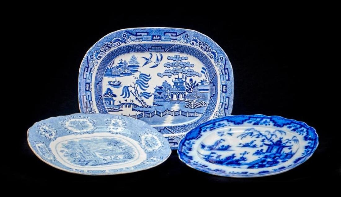 3 STAFFORDSHIRE BLUE & WHITE PLATTERS