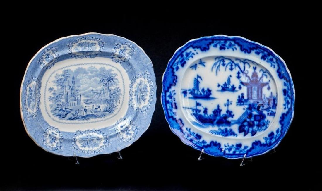 3 STAFFORDSHIRE BLUE & WHITE PLATTERS - 2