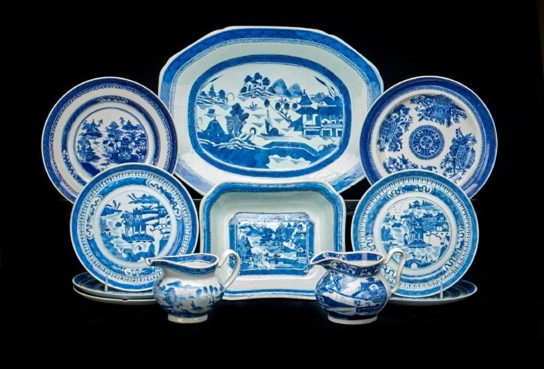 11 PIECES CHINESE CANTON BLUE & WHITE PORCELAIN