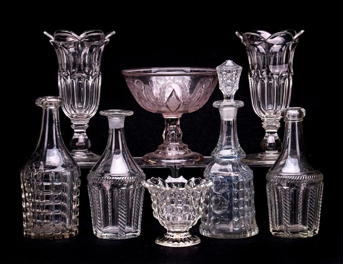 8 PIECES AMERICAN PRESS MOLDED GLASSWARE