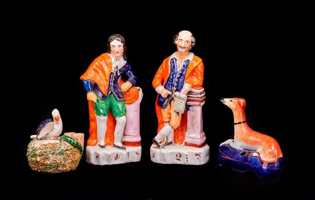 STAFFORDSHIRE SHAKESPEARE, MILTON & 2 QUILL HOLDERS