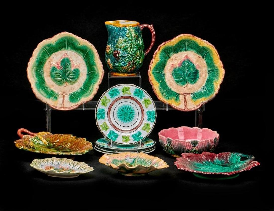 2 PIECES ETRUSCAN & 9 OTHER MAJOLICA PIECES