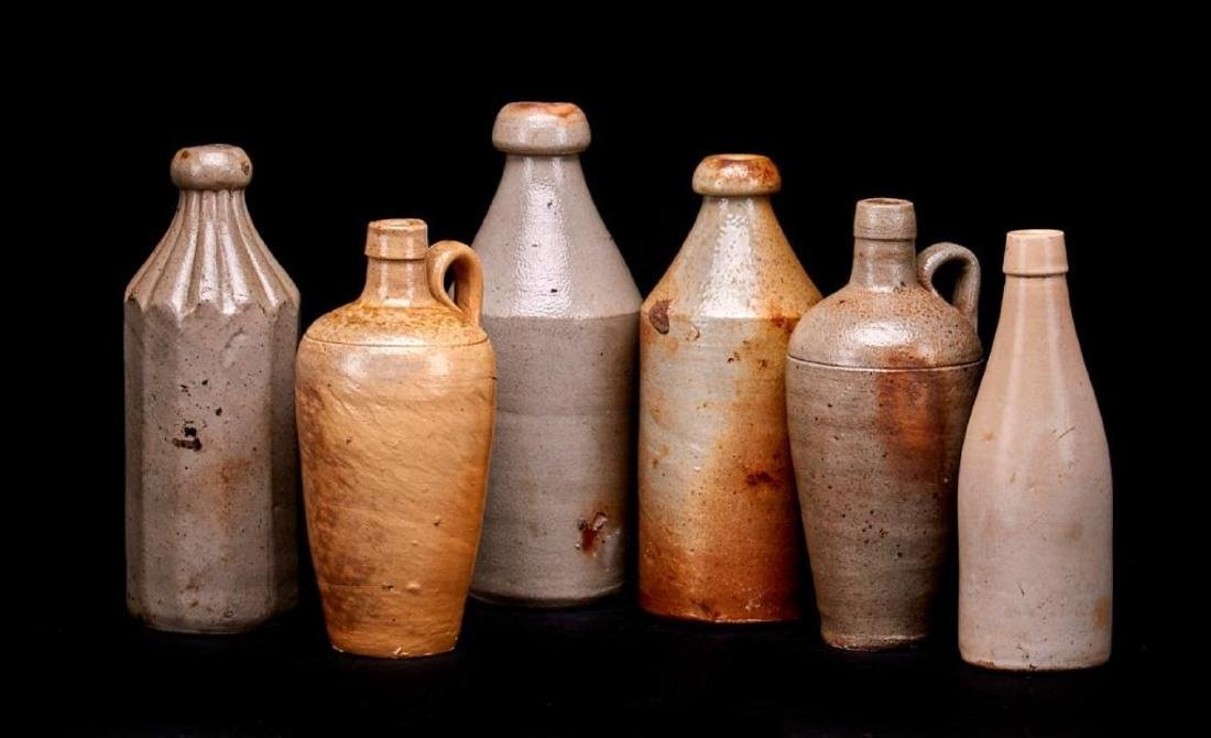 6 SALT GLAZED STONEWARE BOTTLES