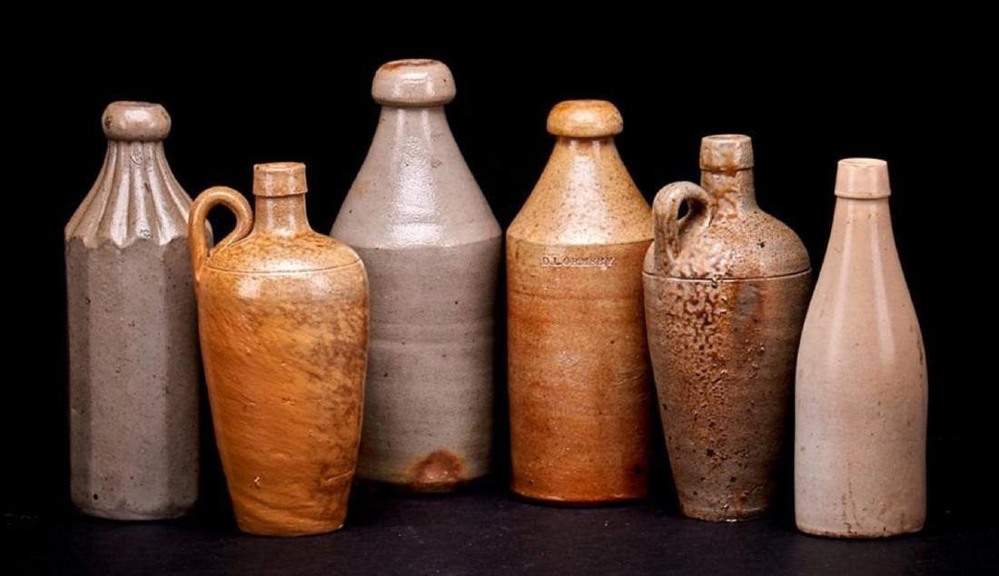 6 SALT GLAZED STONEWARE BOTTLES - 2