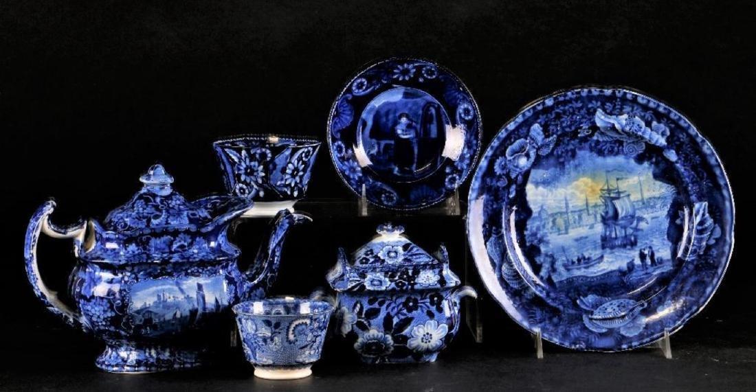 6 STAFFORDSHIRE BLUE & WHITE TRANSFER PRINTED TABLEWARE